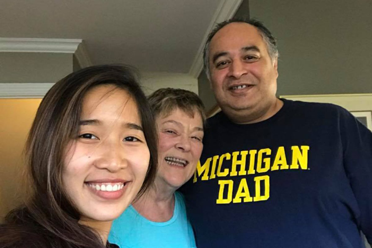 American Councils Fellow Min with her host family in Oak Lawn